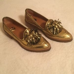 Anthropologie RAS Gold Cracked Leather Loafers